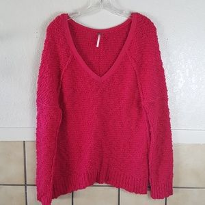 Free People hot pink Songbird v-neck sweater Small